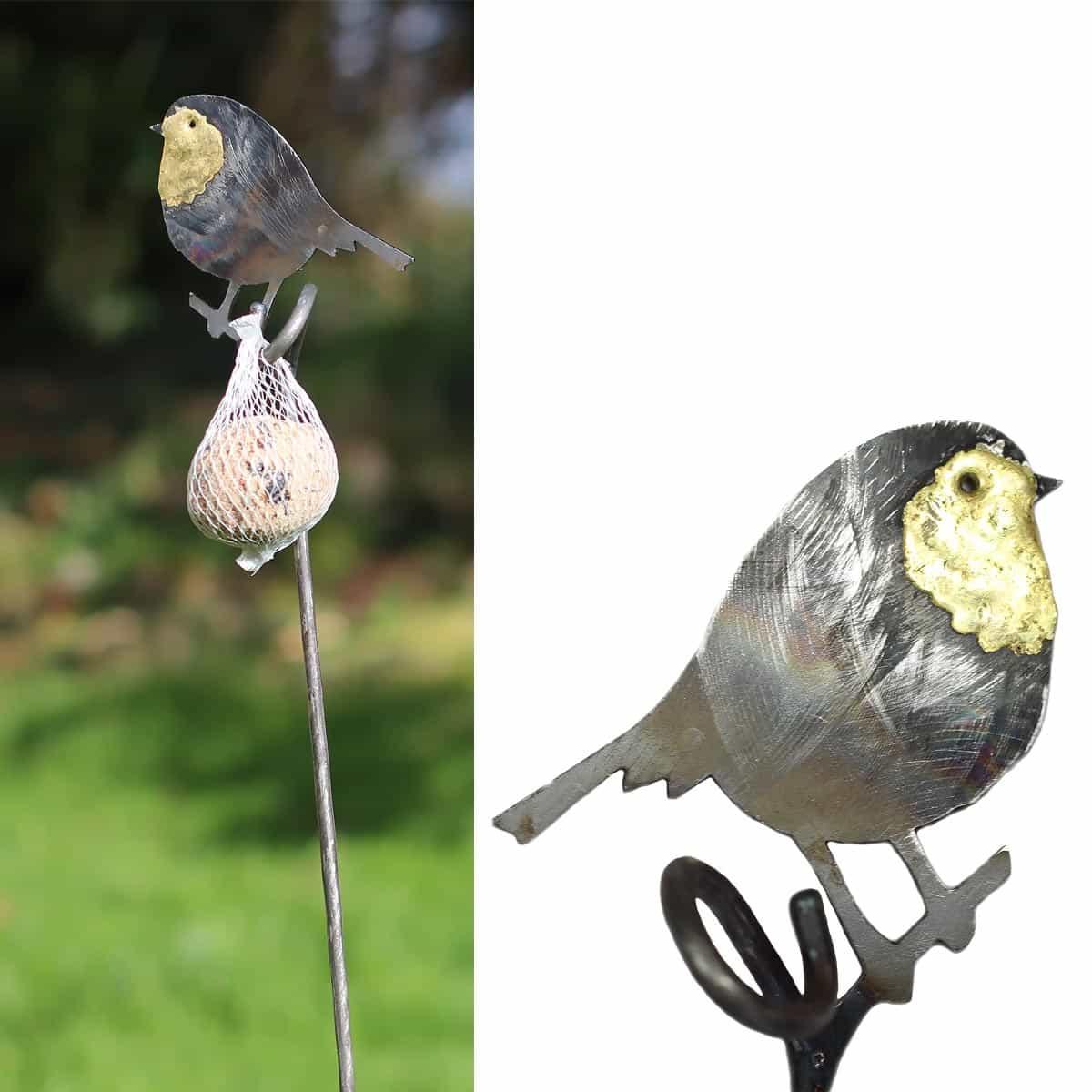 Tuteur rouge gorge et support boule de graisse tuteurs - Oiseaux metal pour jardin ...