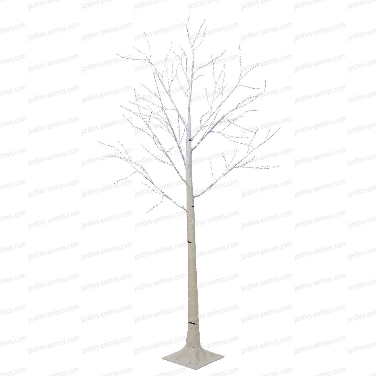 arbre lumineux bouleau blanc leds blanc - haut. 1.80m - eclairage et