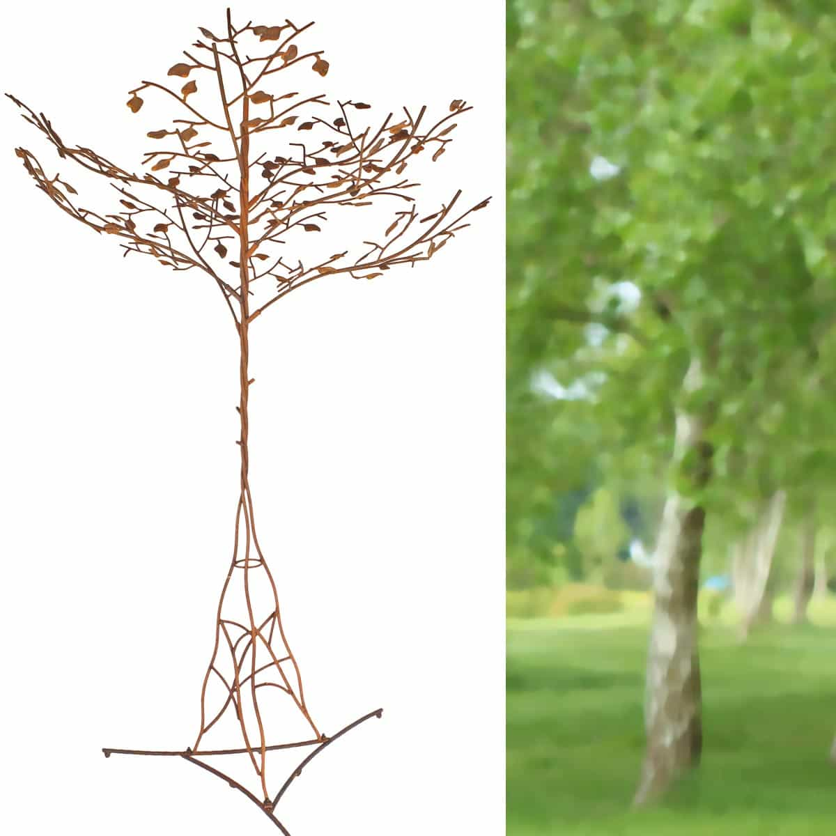 Brise Vue Jardin Japonais arbre cerisier du japon, sculpture en acier