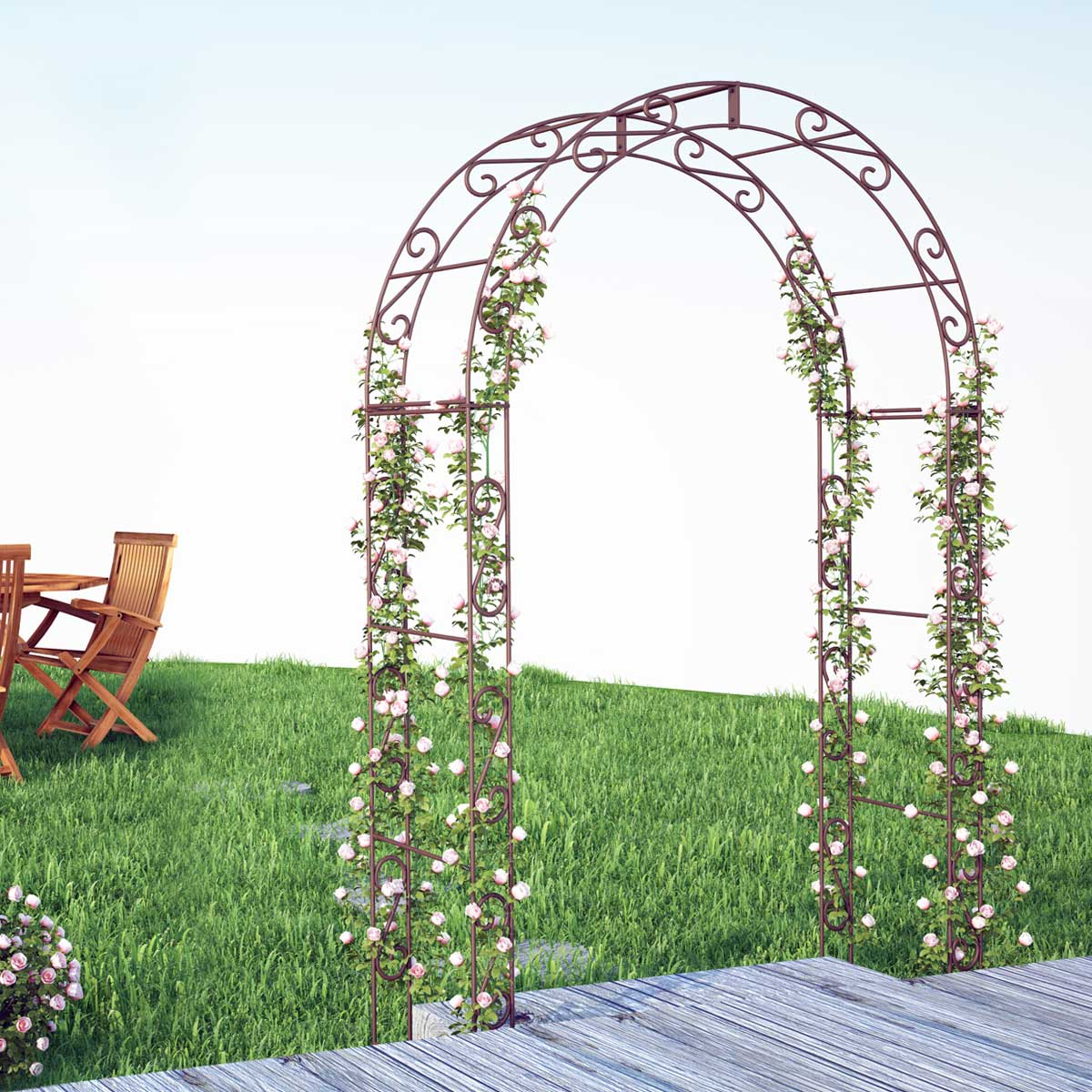 Arche de jardin arrondie en acier plein arches kiosque for Arche de jardin en bois