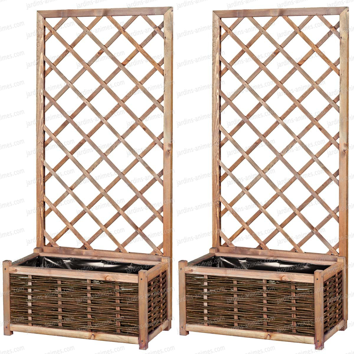 lot de 2 bac jardiniere et treillis en pin fsc mobilier de jardin. Black Bedroom Furniture Sets. Home Design Ideas