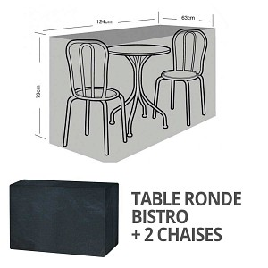 Housse bâche protection table bistro ronde + 2 sièges long. 124cm