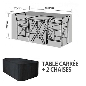 Housse bâche protection table bistro carrée + 2 chaises long. 150cm
