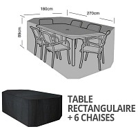 Housse bâche protection table rectangle + 6 chaises long. 270cm