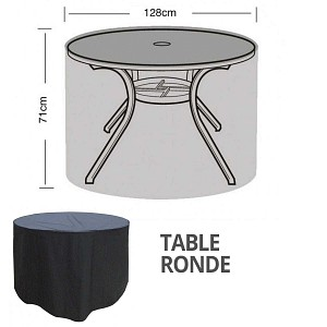 Housse bâche protection table ronde diam. 128cm