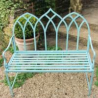 Banc de jardin Arche gothique en fer couleur vert