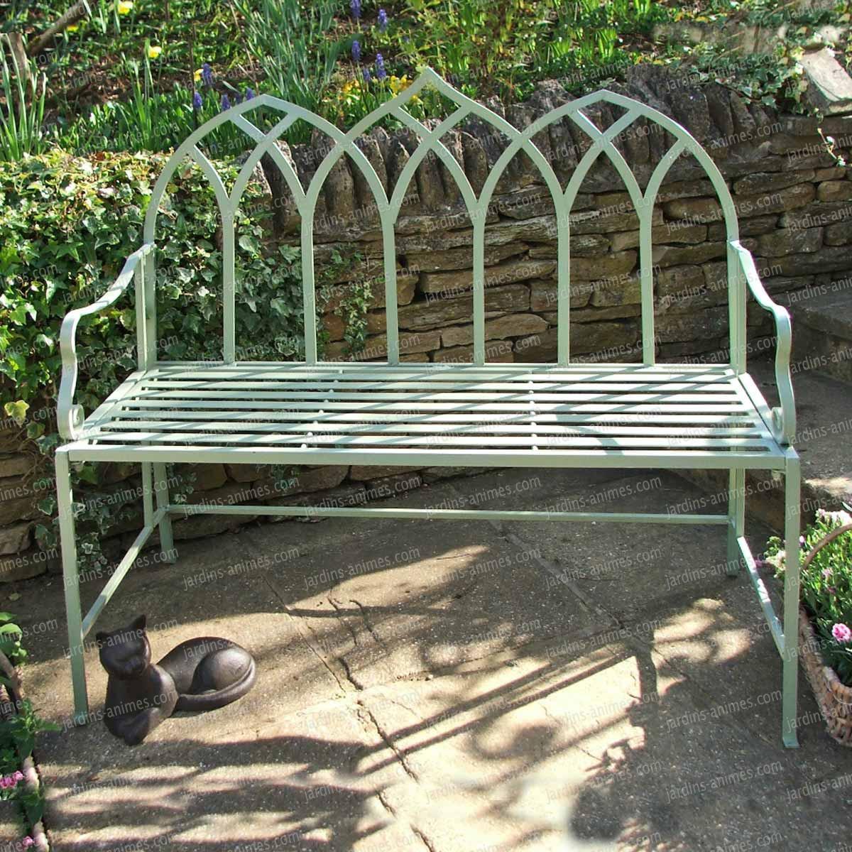 Banc de jardin arche gothique en fer couleur vert for Banc de jardin en fer