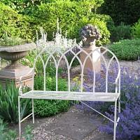 Banc de jardin en fer Arche gothique - Blanc