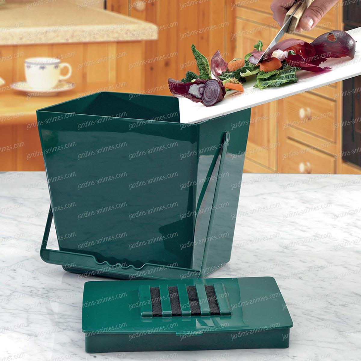 Bio seau anti odeur 5l vert accessoire ustensile cuisine for Anti odeur maison