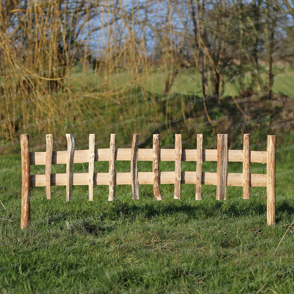 Cloture bois noisetier à planter L.120cm x H.50cm
