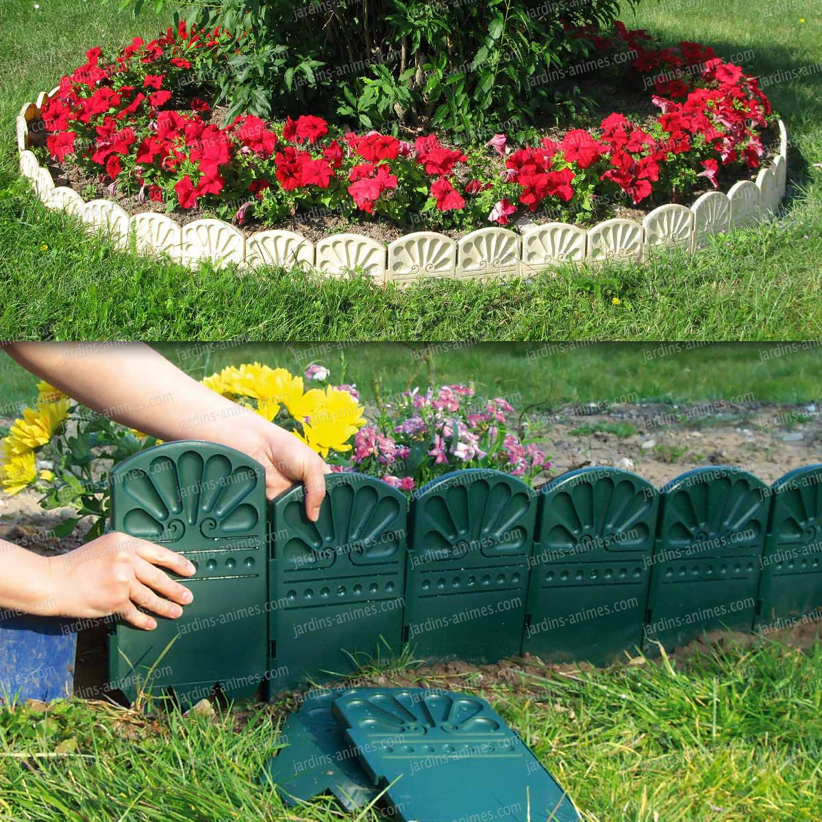 Bordures d coratives de jardin en plastique bordurette gazon for Bordure de jardin en pierre pas cher