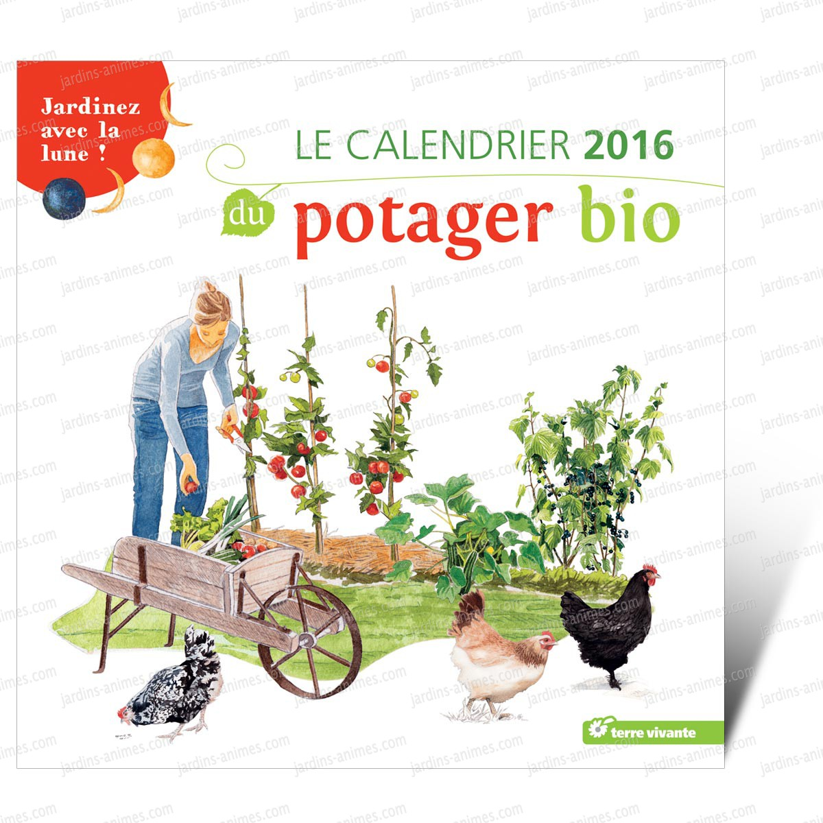 calendrier 2016 du potager bio jardinez avec la lune livres jardin bio. Black Bedroom Furniture Sets. Home Design Ideas