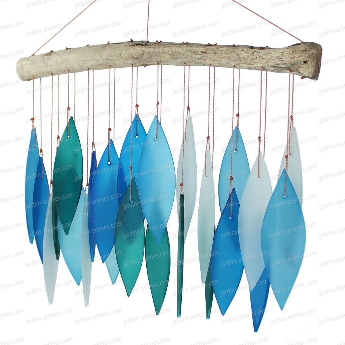 carillon verre et bois bleu carillons zen et feng shui. Black Bedroom Furniture Sets. Home Design Ideas