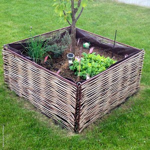 Kit carré potager 90x90x45cm - 4 bordures + 1 sac + 2 bandes Bidim + 4 fixations U