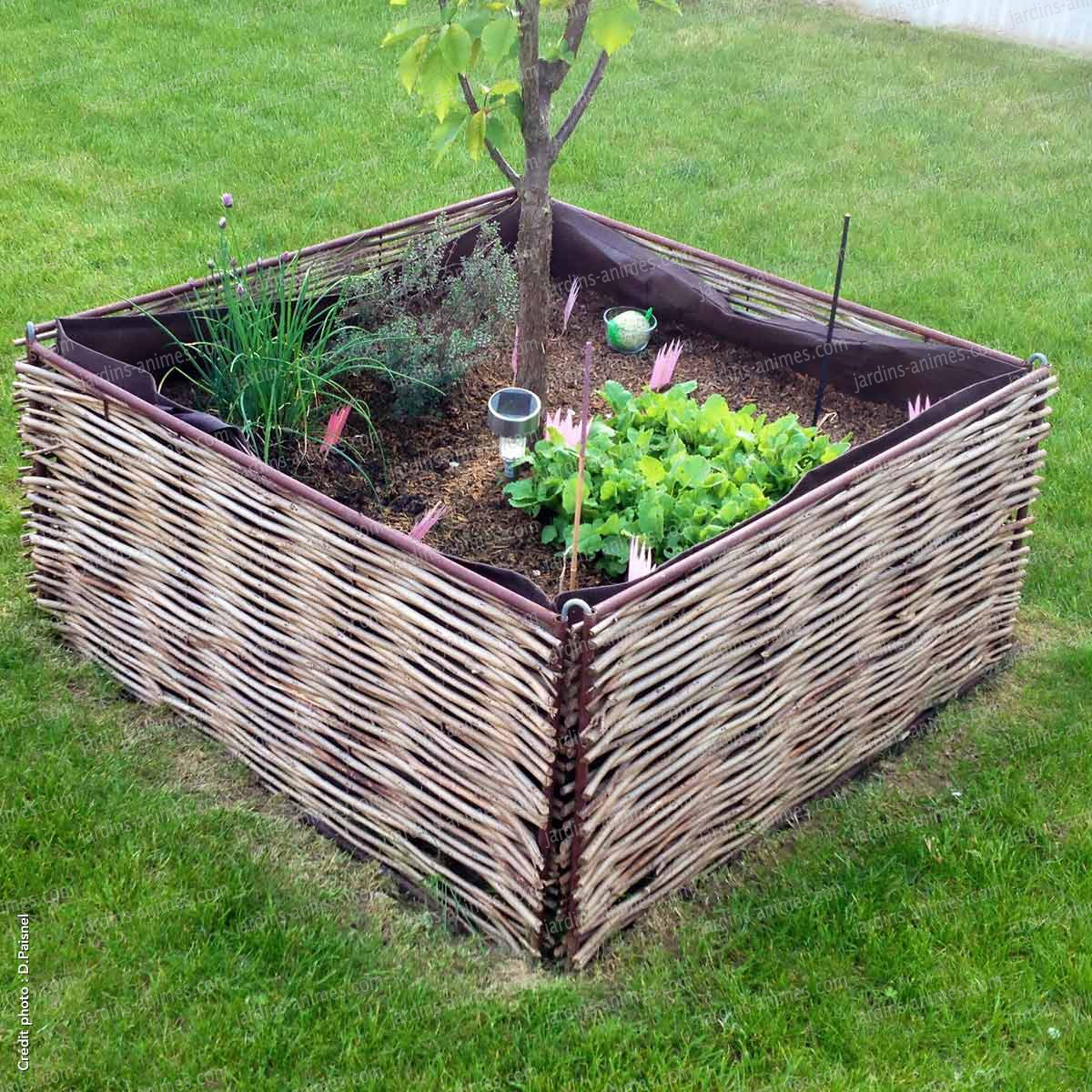 Kit carré potager 90x90x45cm - 4 bordures + un sac + 4 fixations U ...