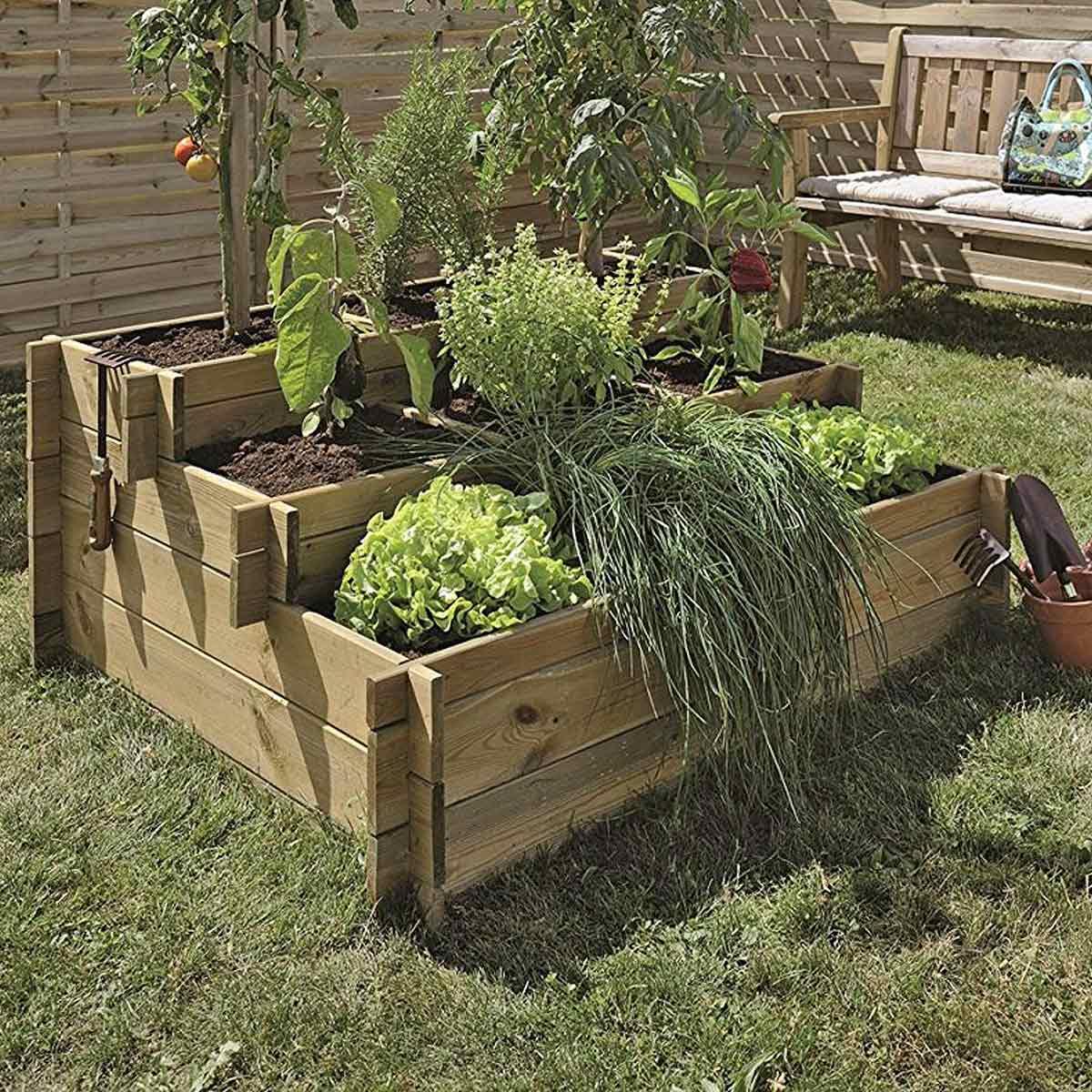 Planter Herbes Aromatiques Jardiniere carré potager, bac à fleurs et jardinière bois au meilleur