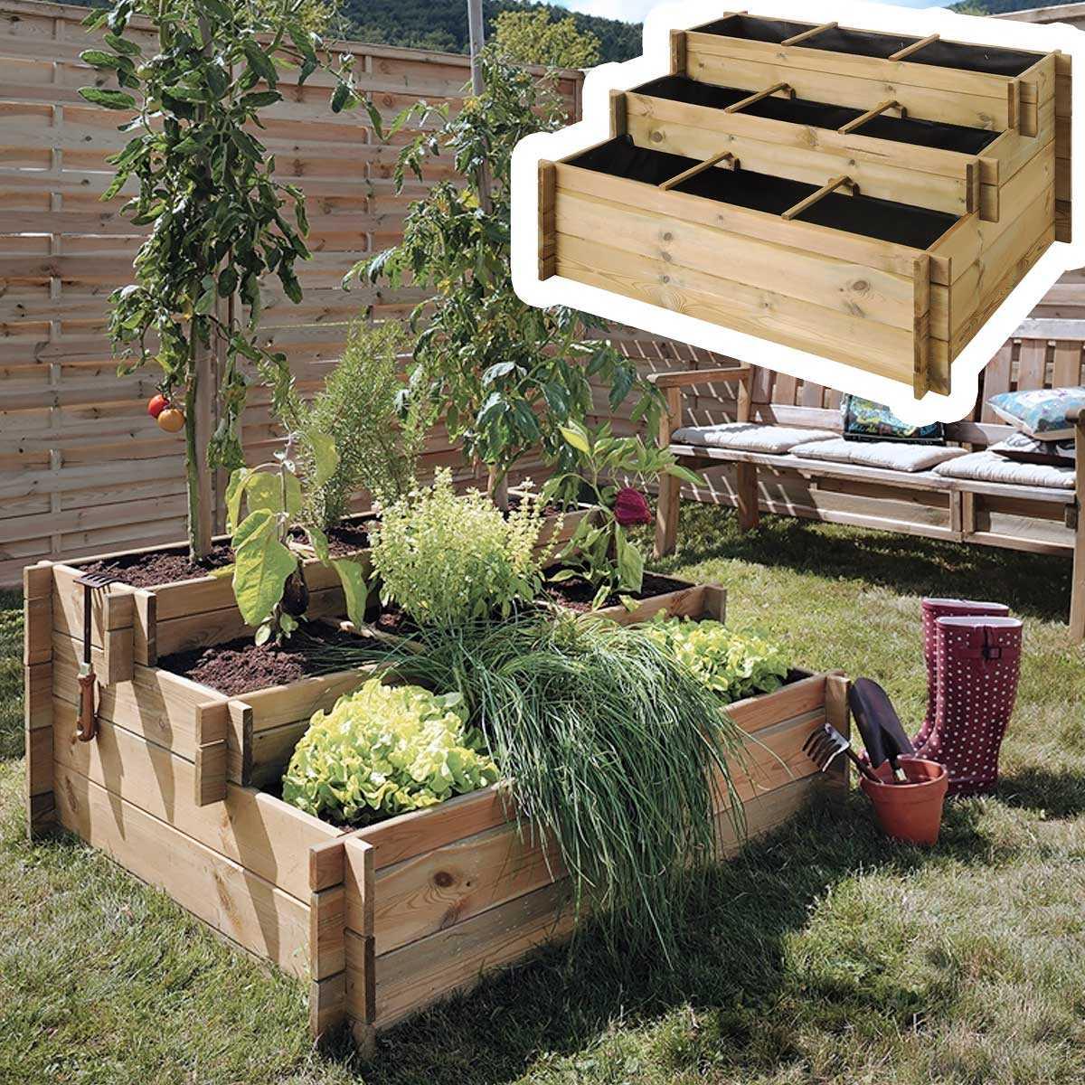 carr potager 3 tages en bois trait g otextile carr potager. Black Bedroom Furniture Sets. Home Design Ideas