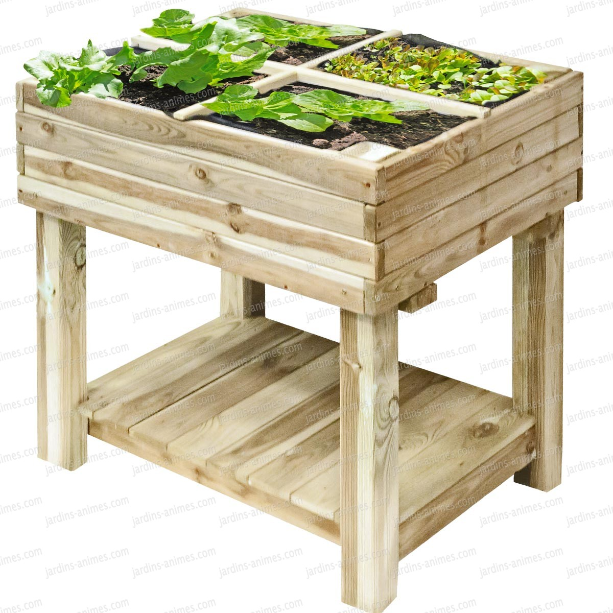 carr potager bois sur pied 80x60cm avec bache de. Black Bedroom Furniture Sets. Home Design Ideas