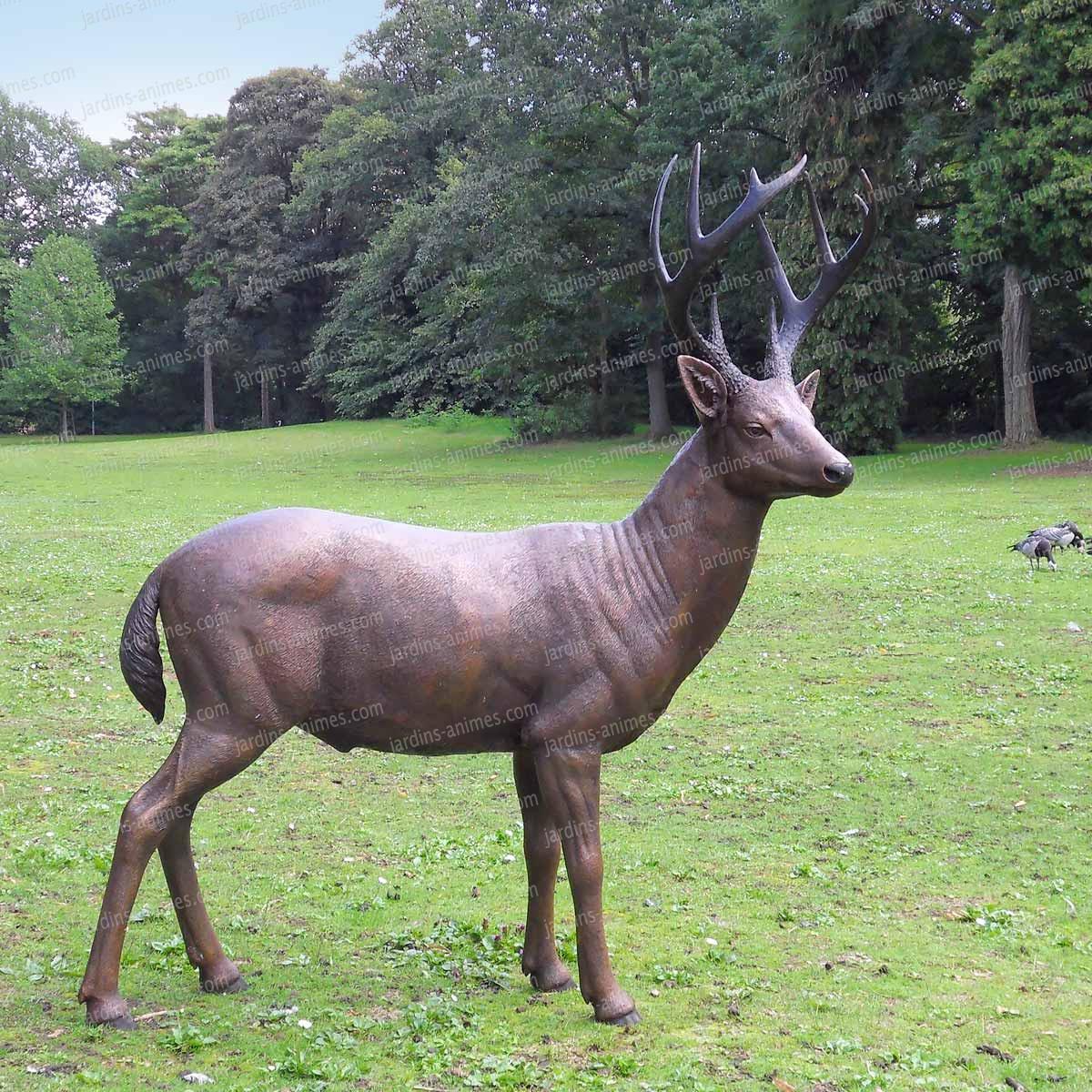 Cerf En Bronze Sculpture Figurines D Coratives