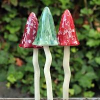 Lot de 3 champignons céramique automne