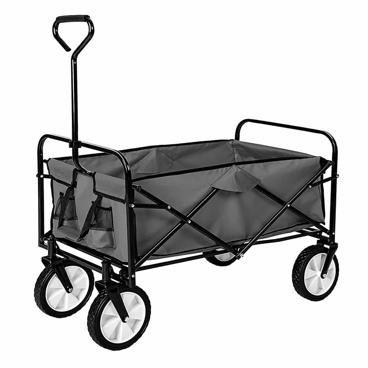 Chariot de jardin pliable - Remorque à main 7 roues - Sac, Baquet ...