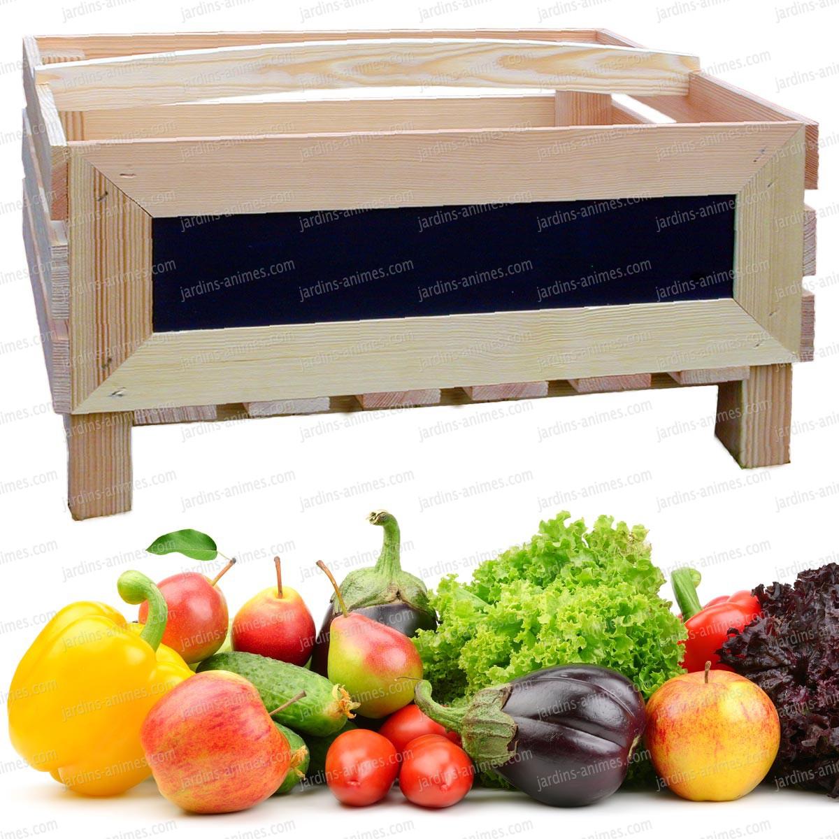 clayette l gumes et fruits en pin accessoire ustensile cuisine. Black Bedroom Furniture Sets. Home Design Ideas