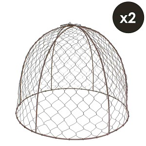 Lot de 2 cloches de protection en grillage à poule H.36cm