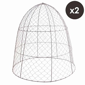 Lot de 2 cloches de protection en grillage à poule H.75cm