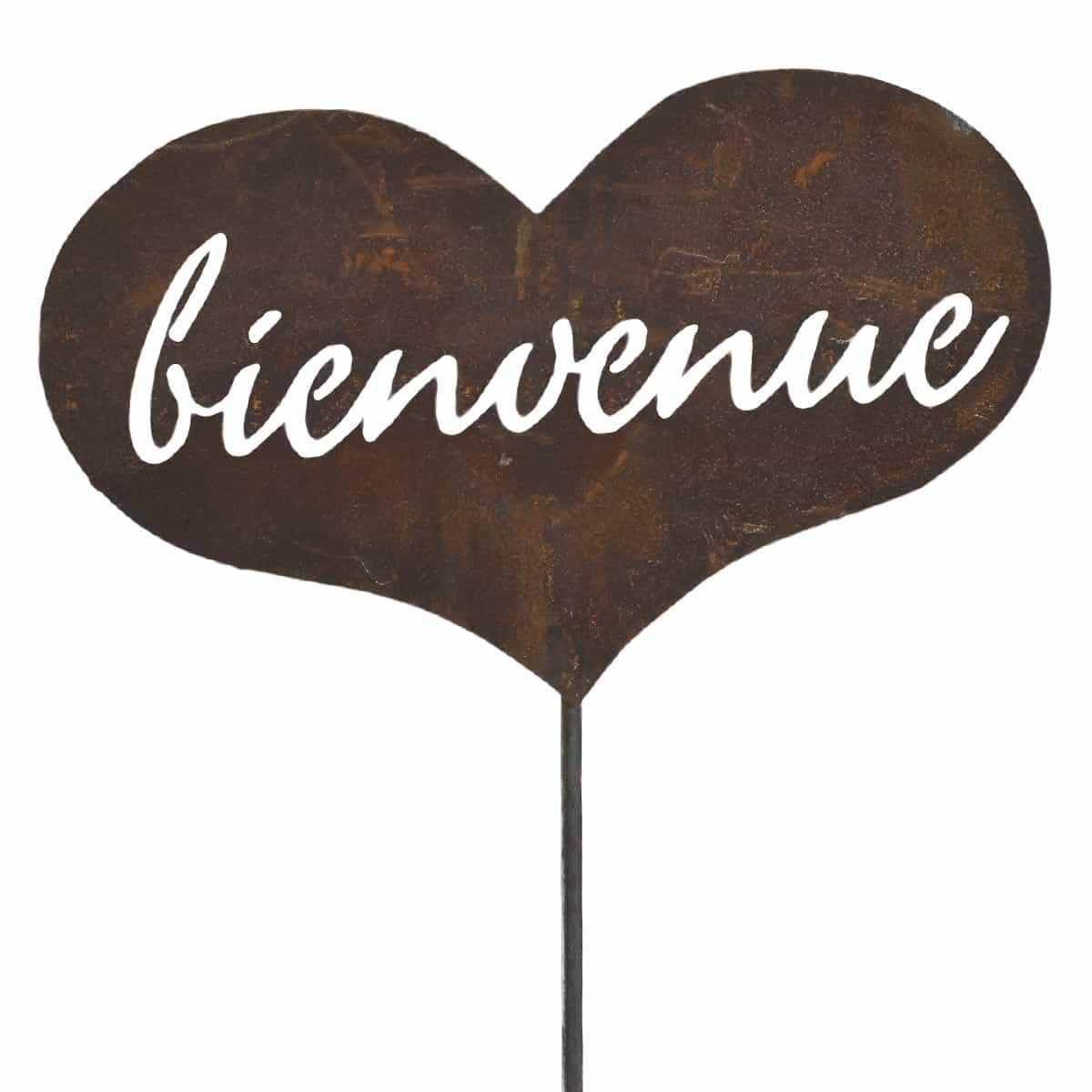 Coeur bienvenue d co de jardin en m tal pancarte et for Objet de decoration pour le jardin