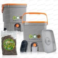 Composteur de cuisine x2 + 1 sac 2kg