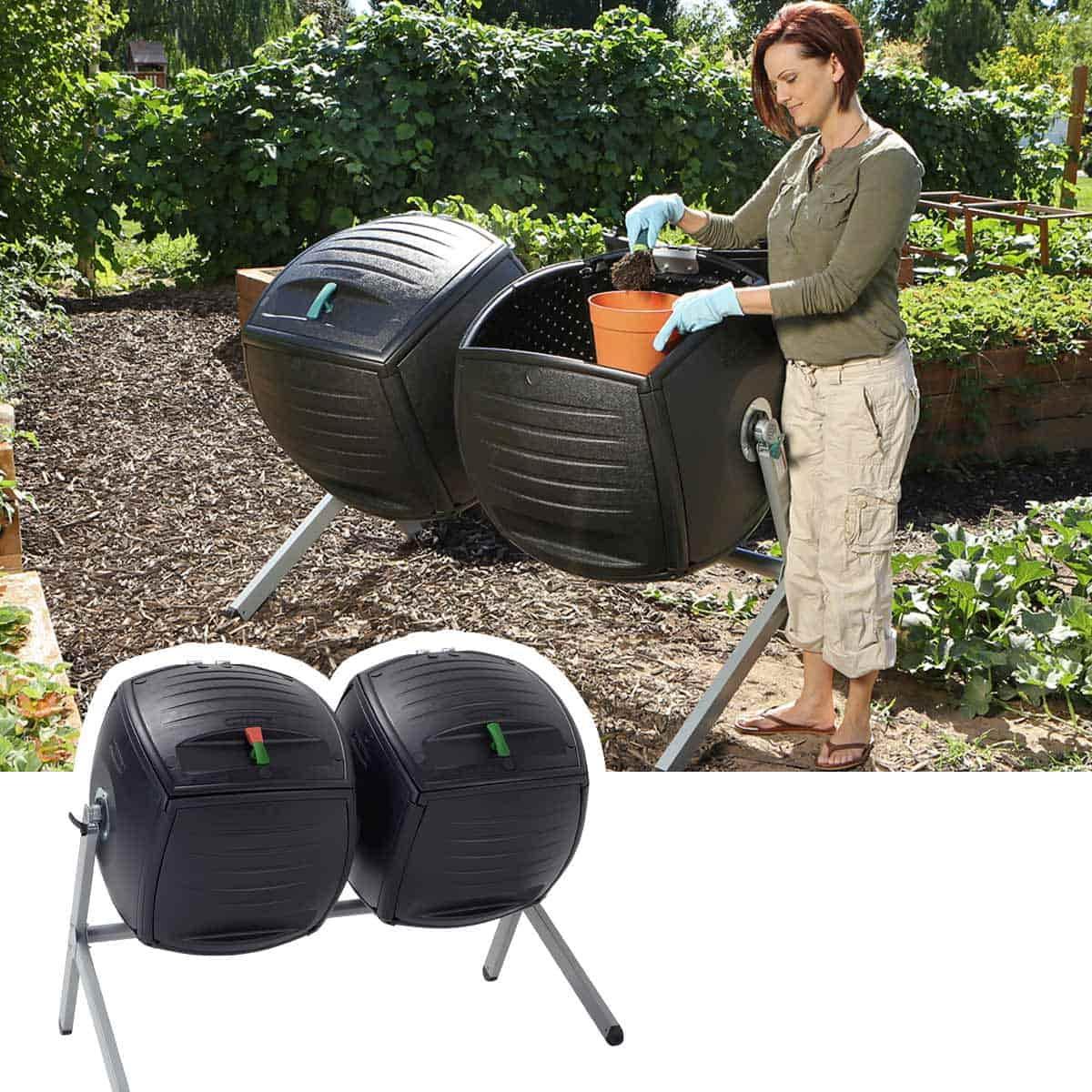 Composteur tambour compartiment double 380litres - Composteur de jardin ...