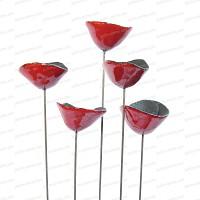 Coquelicot Rouge Céramique sur tige x5 - diam.5cm