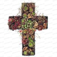 Croix funéraire GARNIE, en grillage à poule 47x34cm