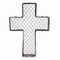 Croix funéraire en grillage à poule 47x34cm