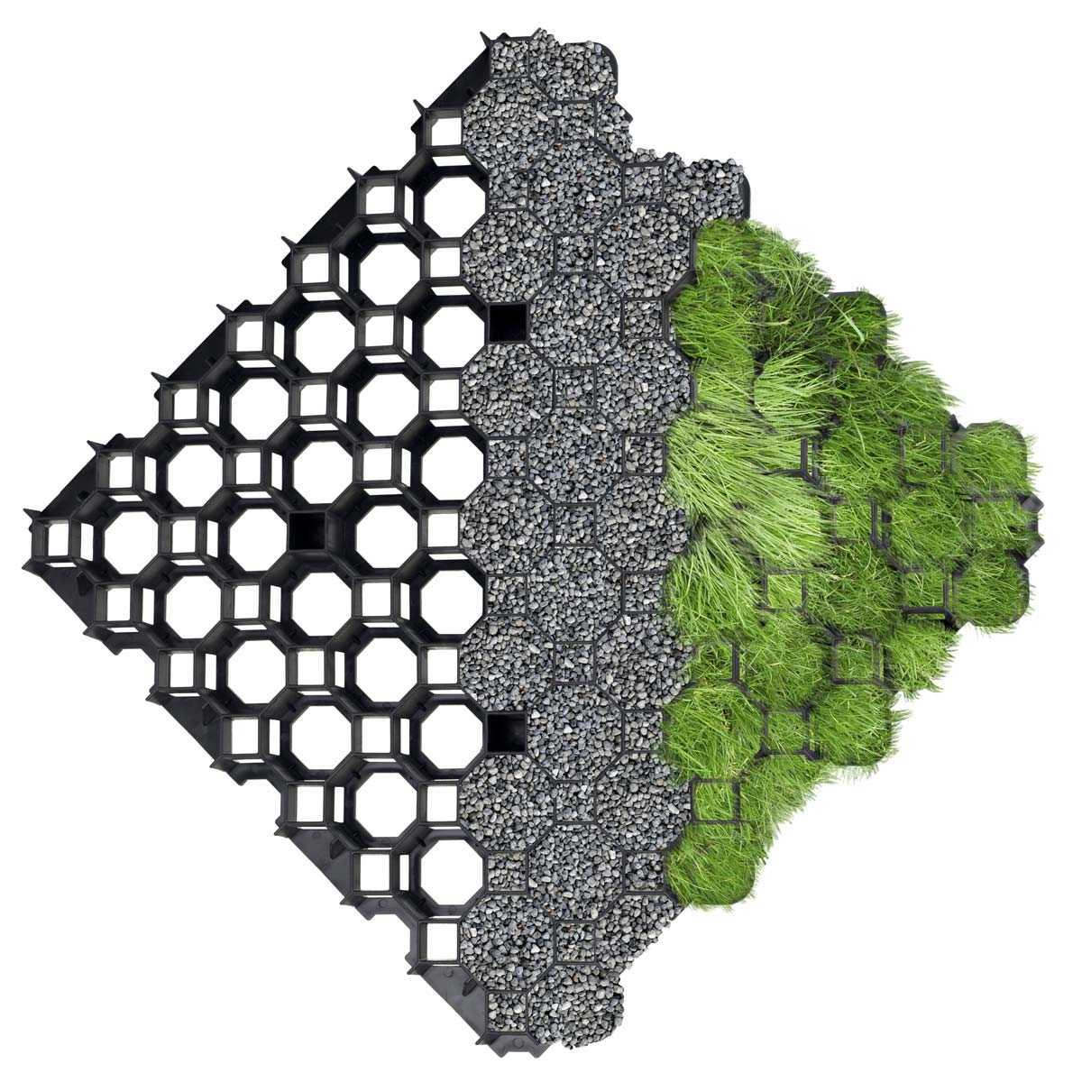 Graviers Pour Allées Carrossables dalle stabilisatrice à engazonner 100% recyclée