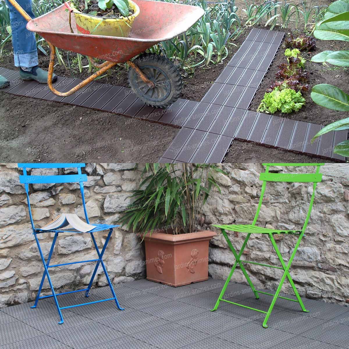 Dalle de jardin clipsable en plastique all e chemin gravier - Pose dalle de jardin ...