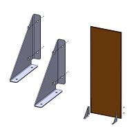 2 équerres de fixation pour panneau en métal - Sol rigide