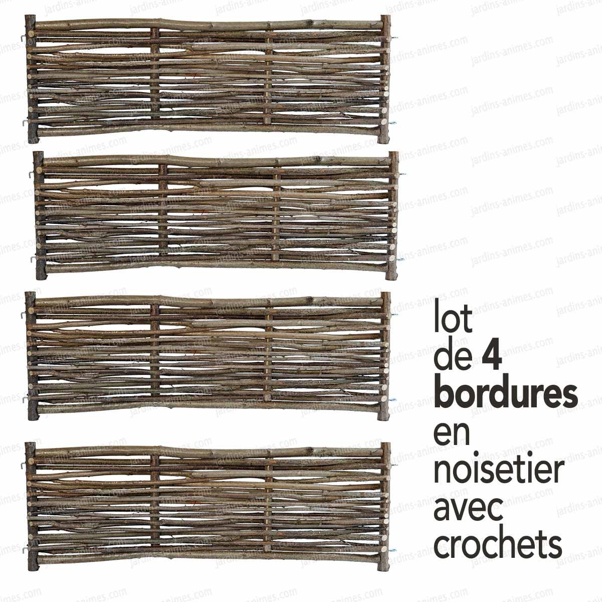 Carr potager noisetier 100x crochets carr potager for Bordure en bois tresse