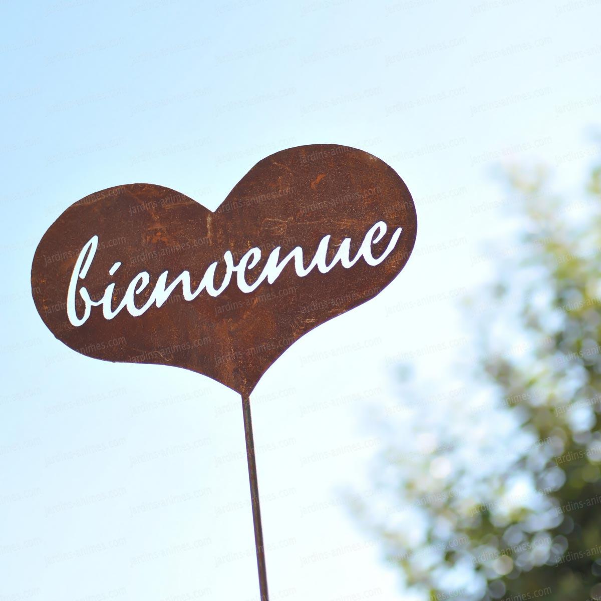 Coeur bienvenue d co de jardin en m tal pancarte et for Objet deco de jardin