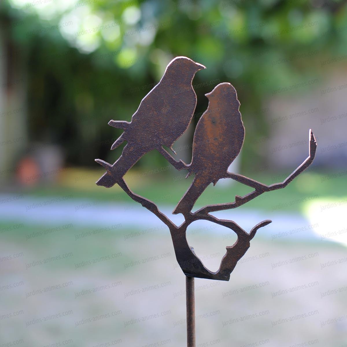 Silhouette oiseaux sur branche d co de jardin en m tal for Objet deco jardin metal