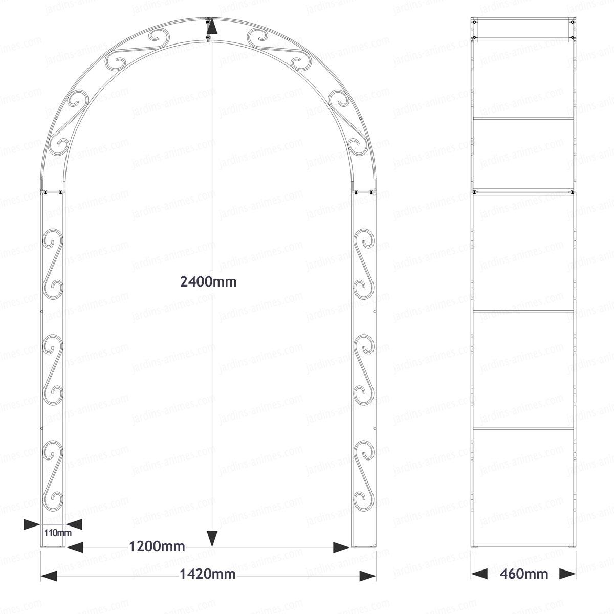 arche de jardin arrondie en acier plein arches kiosque. Black Bedroom Furniture Sets. Home Design Ideas
