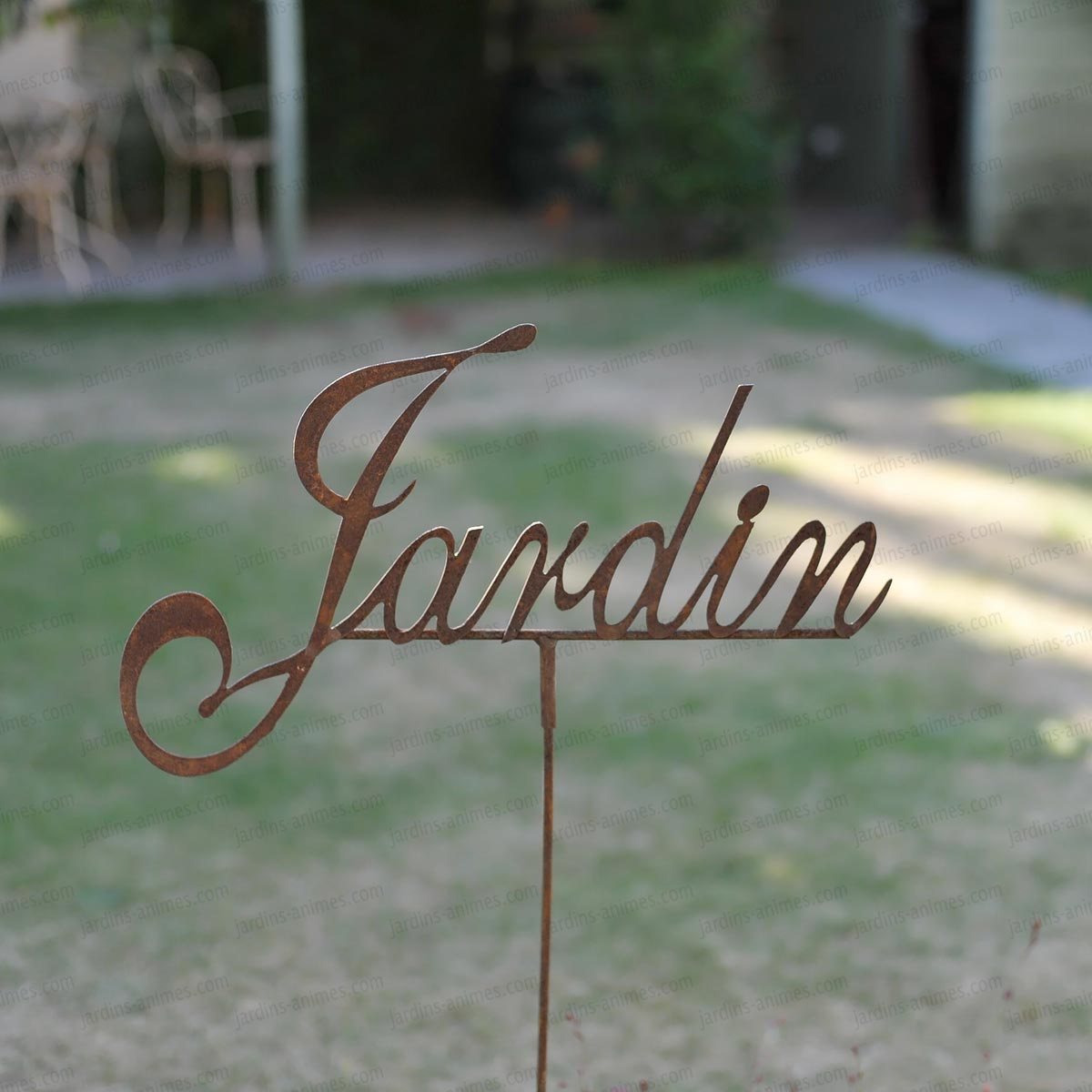 Inscription jardin d co de jardin en m tal pancarte et for Decoration jardin en metal
