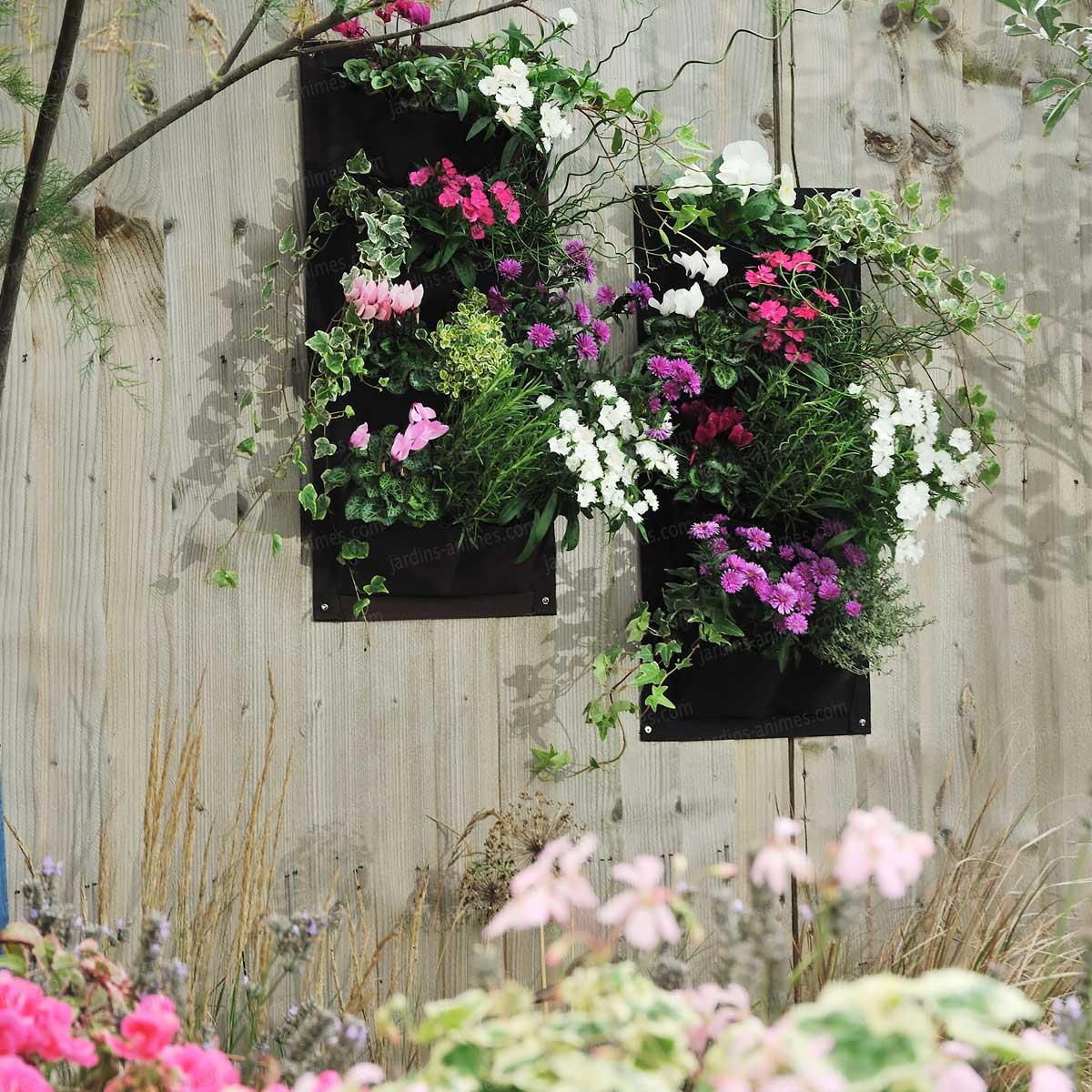 Jardin vertical verti plant 3 poches pour salades aromatiques et petites plantes lot de 2 mur - Fixer jardiniere rebord fenetre ...