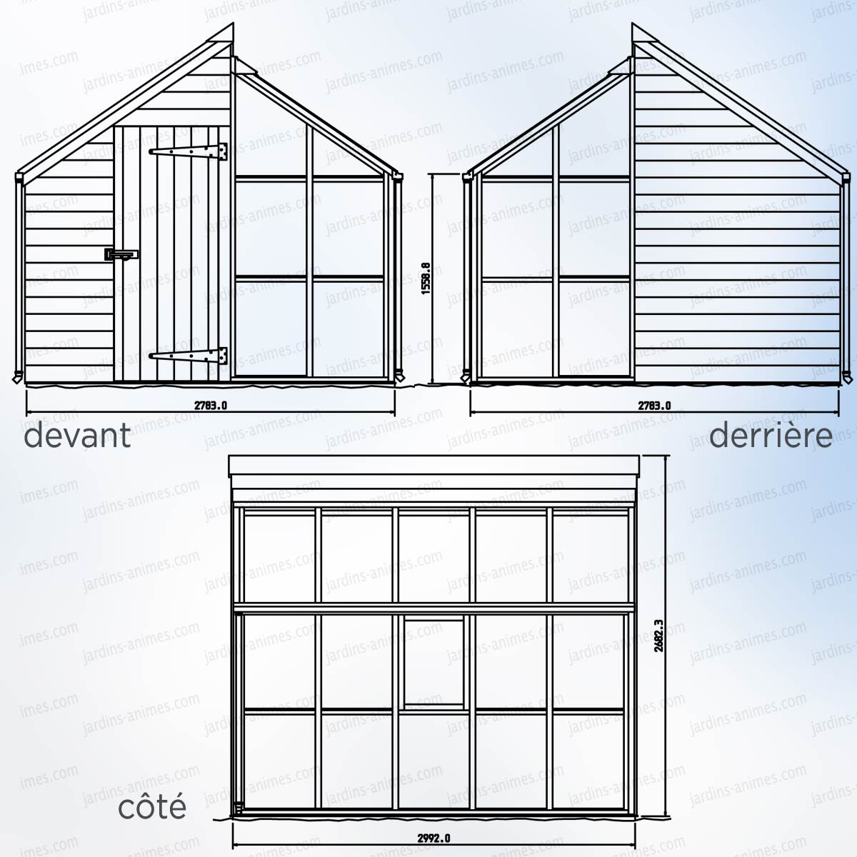 Serre de jardin et abri en c dre 5 panneaux gabriel ash serre jardin - Plan construction serre jardin ...