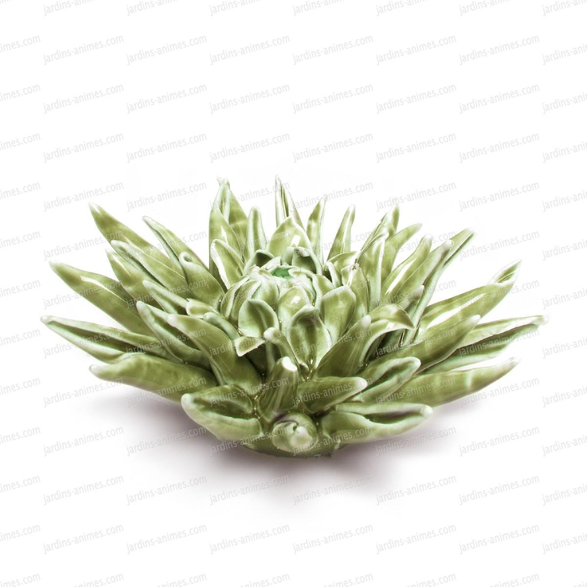 fleur corail en c ramique poser vert figurines d coratives. Black Bedroom Furniture Sets. Home Design Ideas