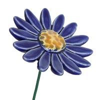 Fleur en céramique sur tige à planter - Marguerite bleu foncé