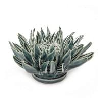Fleur anémone en céramique à accrocher - Bleu canard