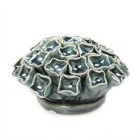 Fleur corail en céramique à accrocher - Bleu canard