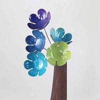 Lot 5 grandes fleurs artisanales en acier - Nuances de bleu