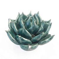 Fleur succulente en céramique à poser - Bleu canard